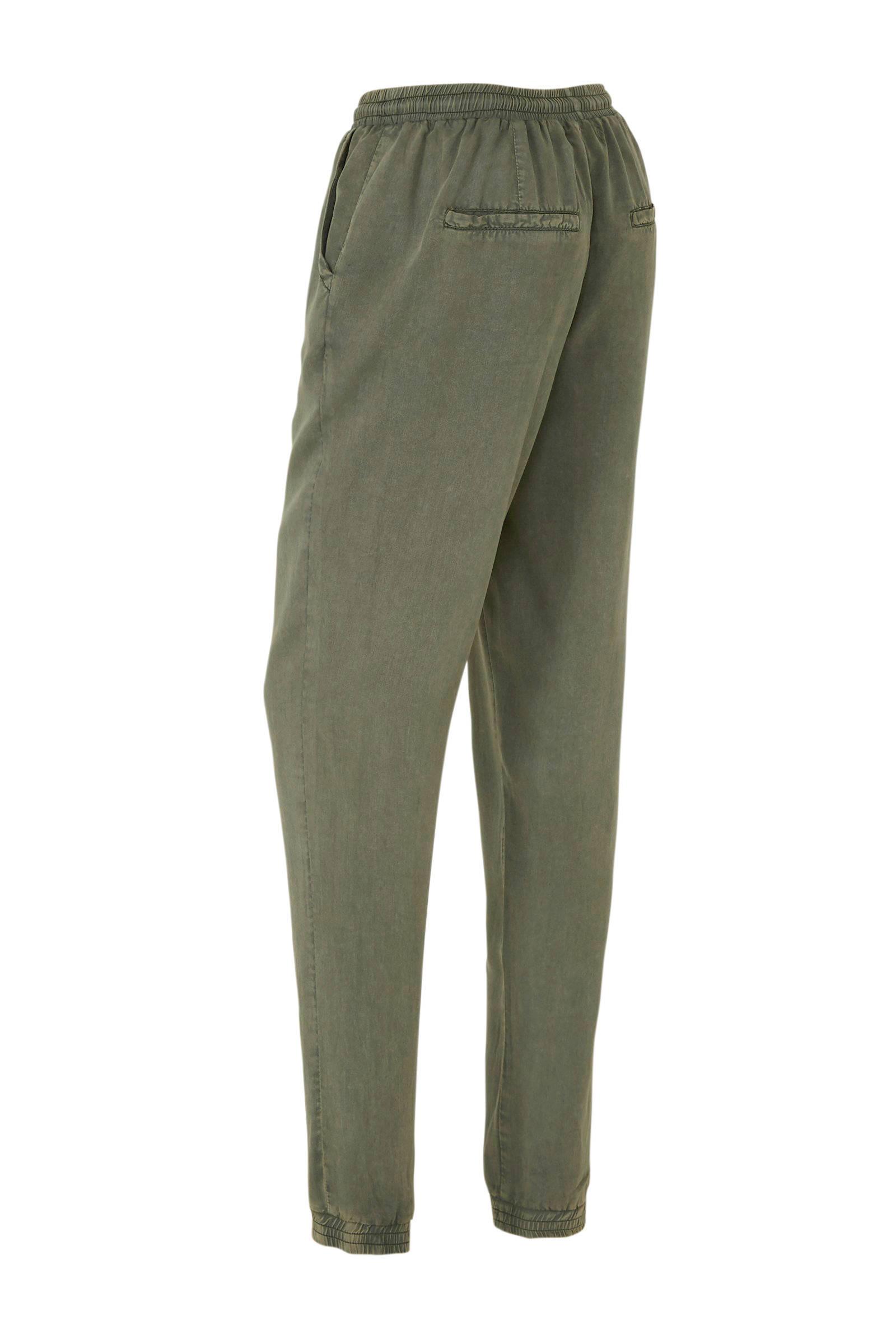 broek van viscose tencel in used look groen