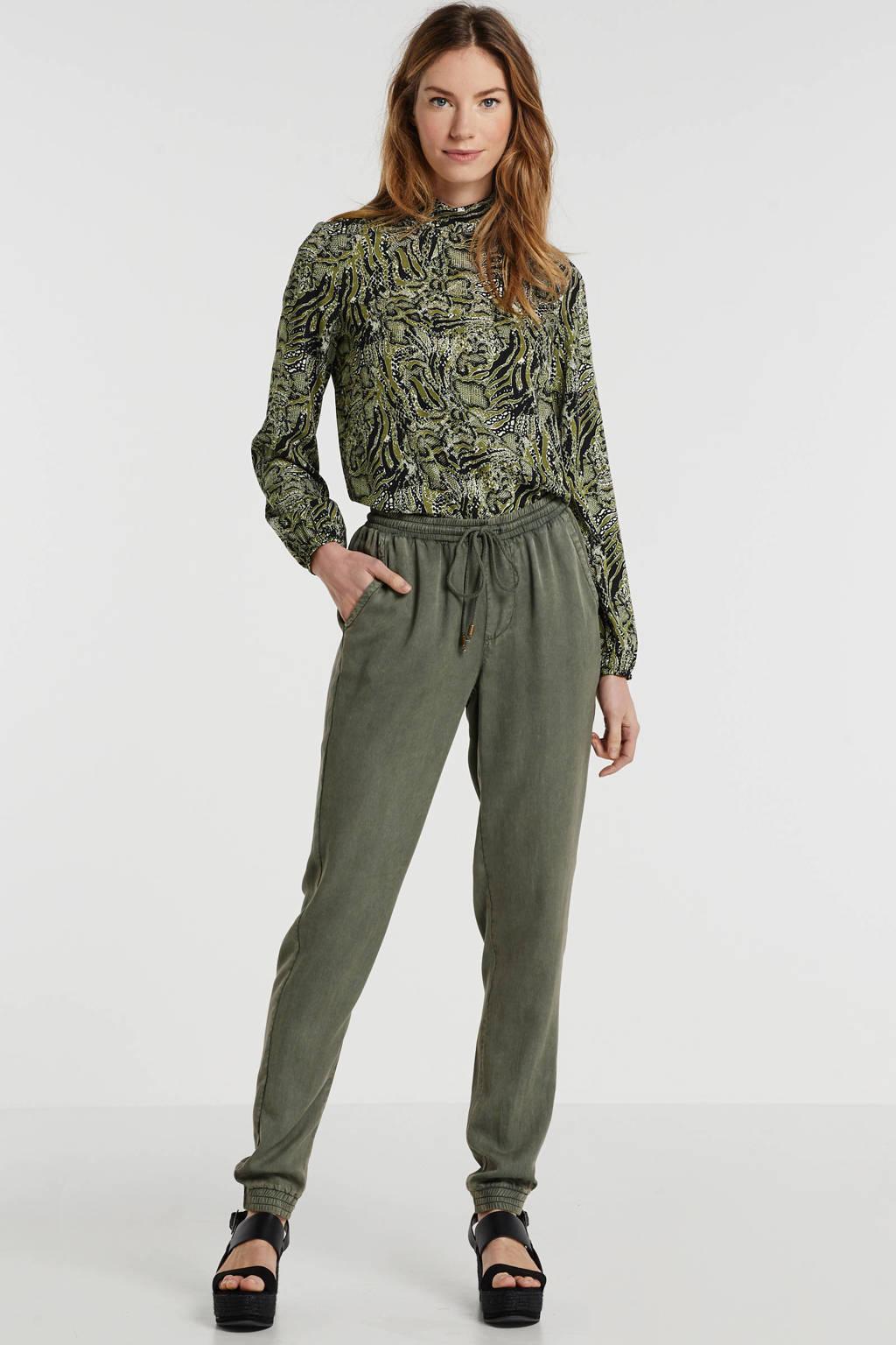 anytime broek van viscose-tencel in used-look groen, Groen