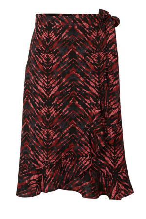 wikkelrok Plus size met all-overprint zwart/rood