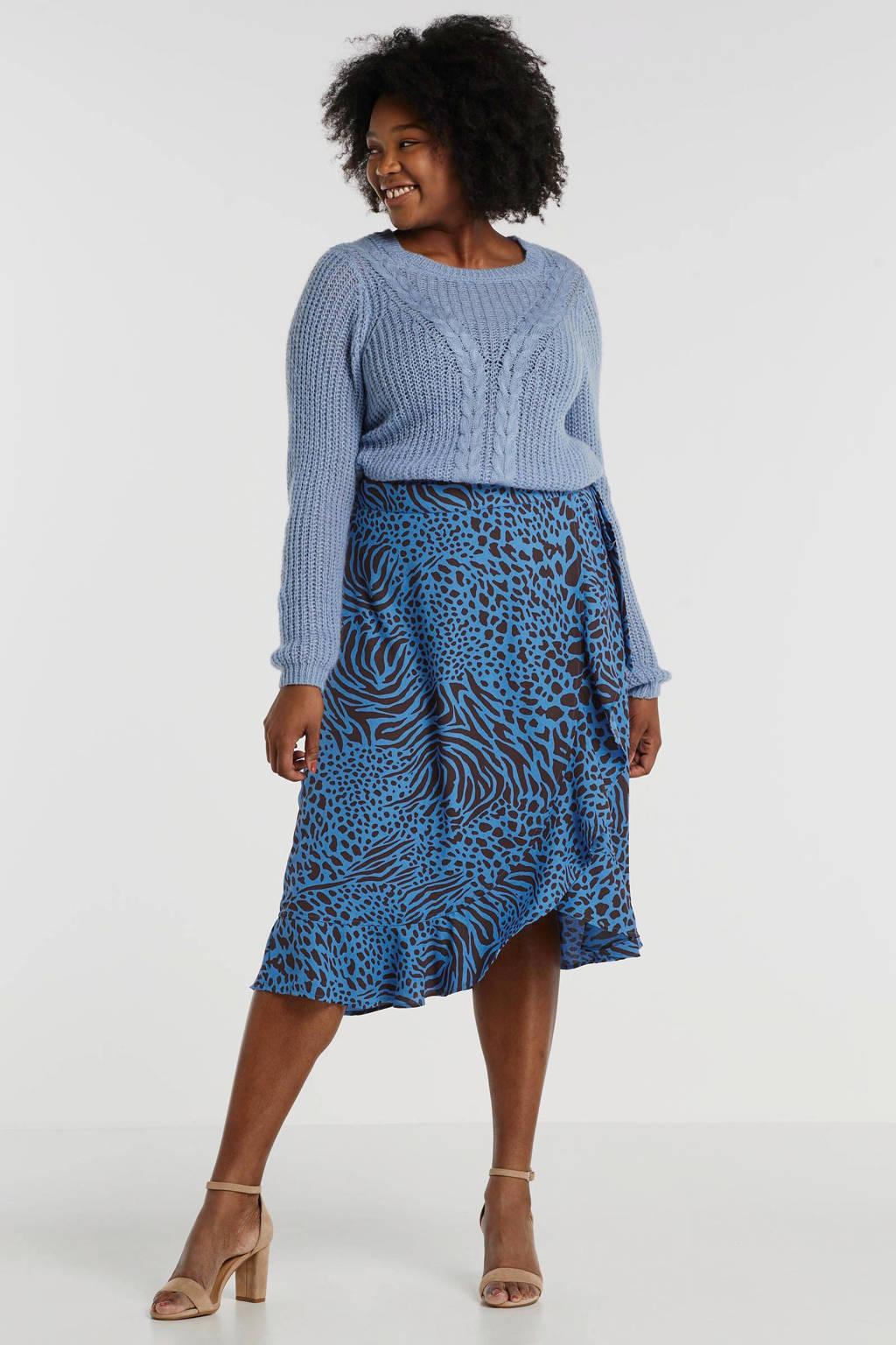 anytime wikkelrok Plus size met all-overprint blauw/bruin, Blauw/bruin