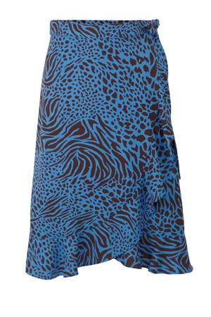 wikkelrok Plus size met all-overprint blauw/bruin