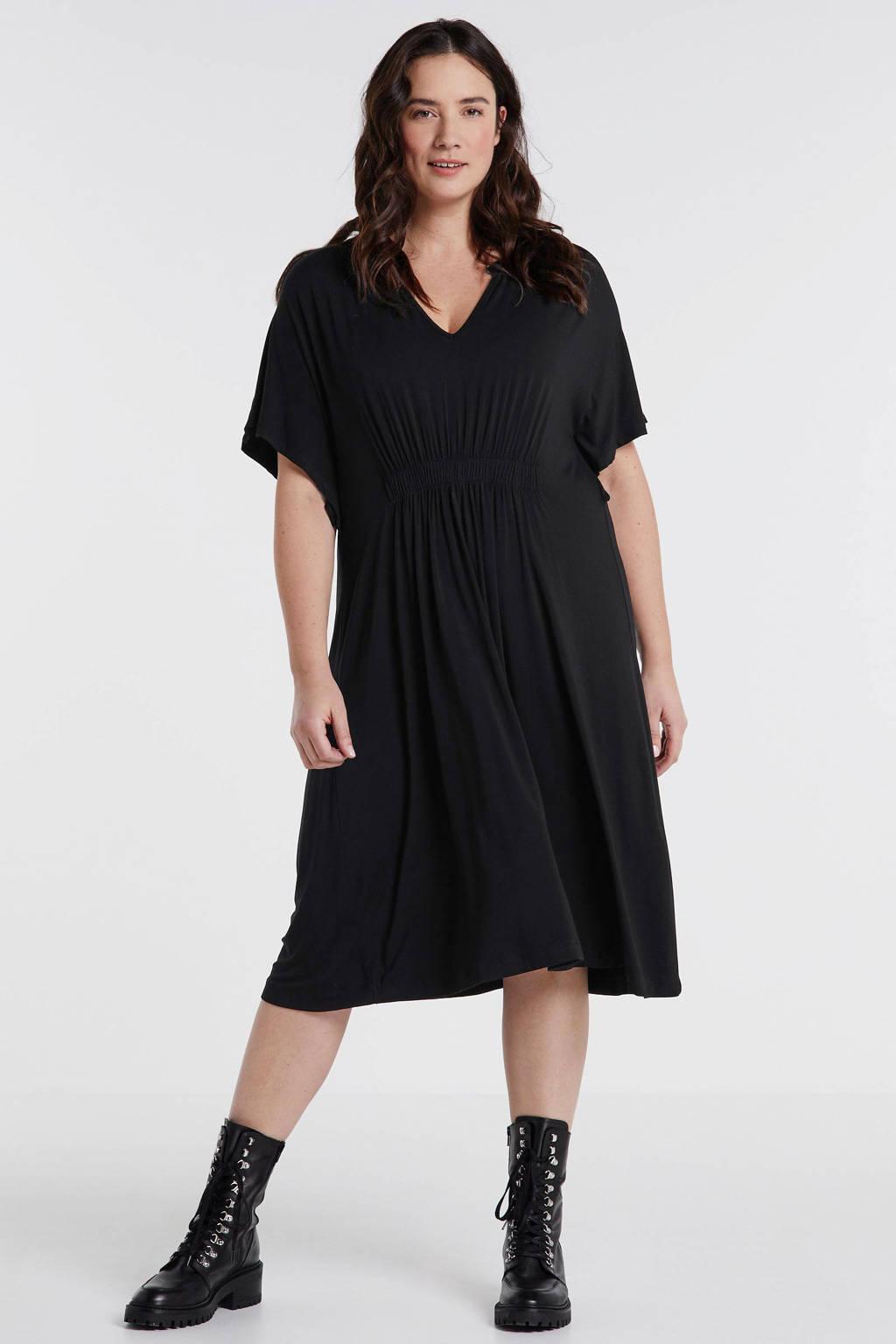 Mat Fashion T-shirtjurk met plooien zwart, Zwart
