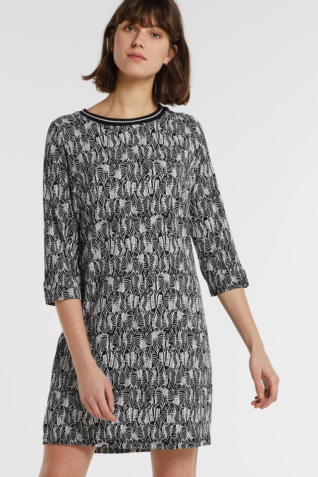 anytime jurk met bladprint zwart/ecru, Zwart/ecru