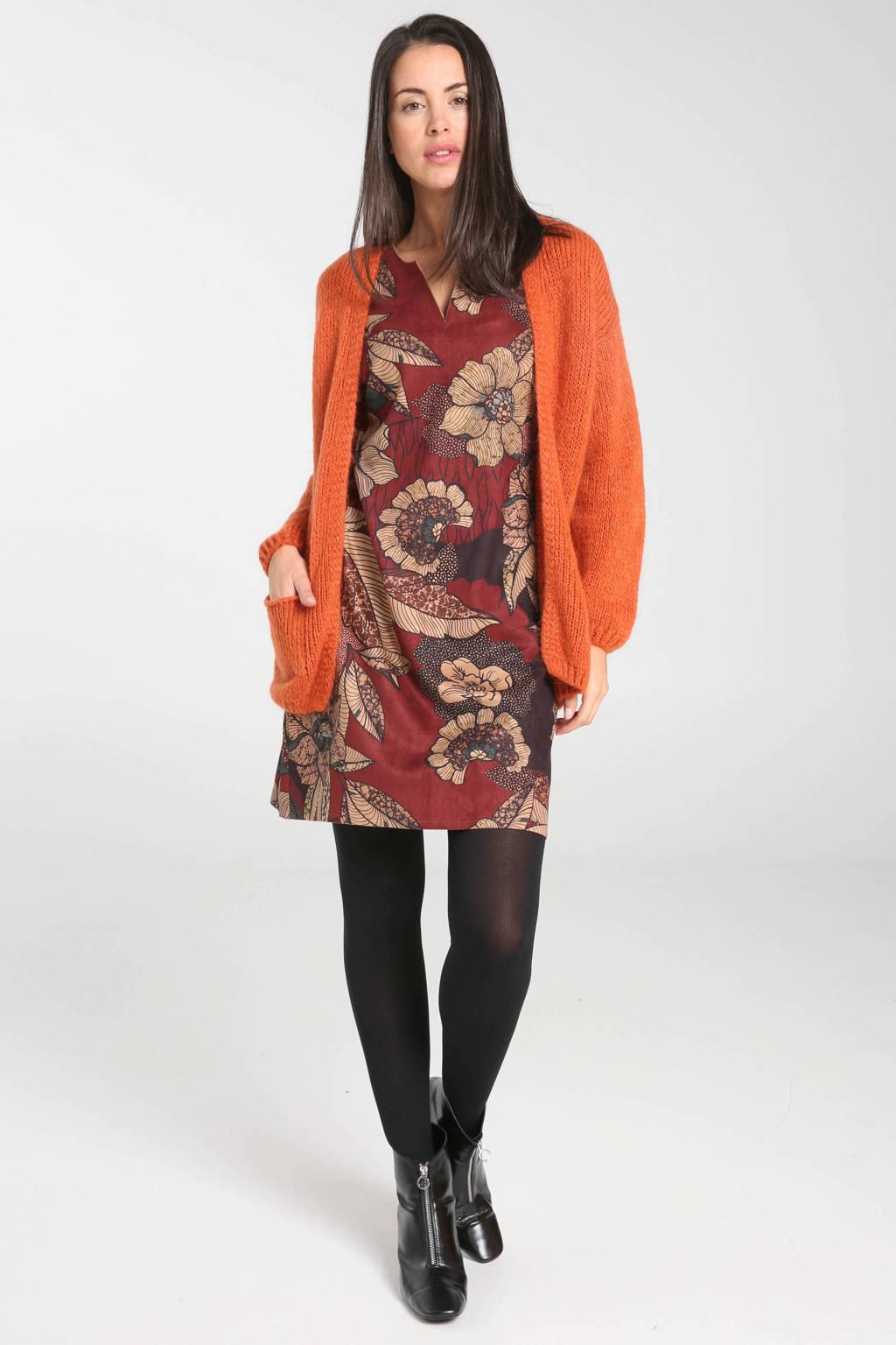 Cassis gebloemde jersey jurk rood/beige/bruin, Rood/beige/bruin