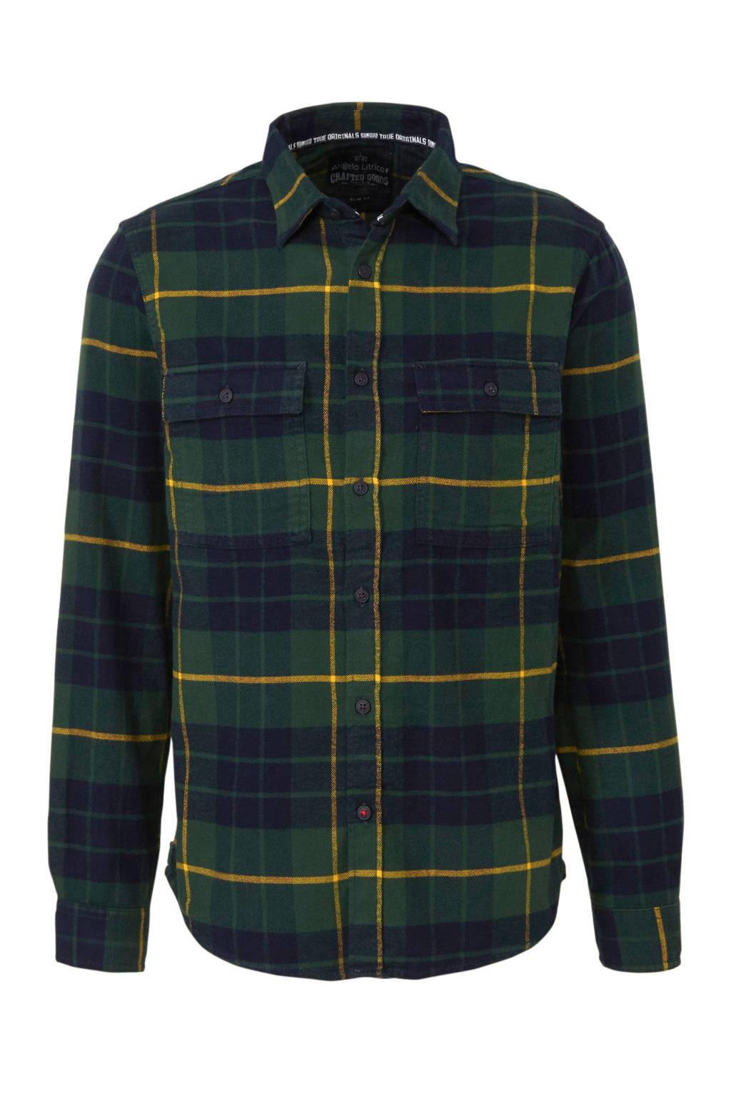 C&A Angelo Litrico geruit flanellen slim fit overhemd groen/marine, Groen/marine
