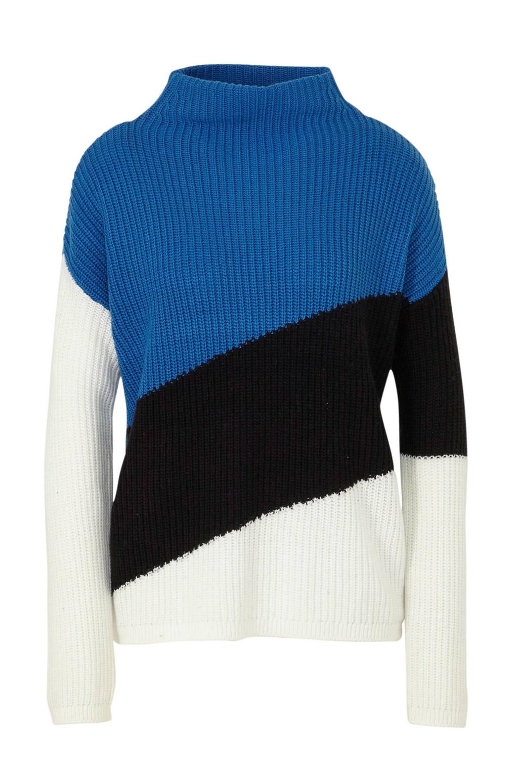 C&A Canda grofgebreide trui blauw/zwart/wit, Blauw/zwart/wit