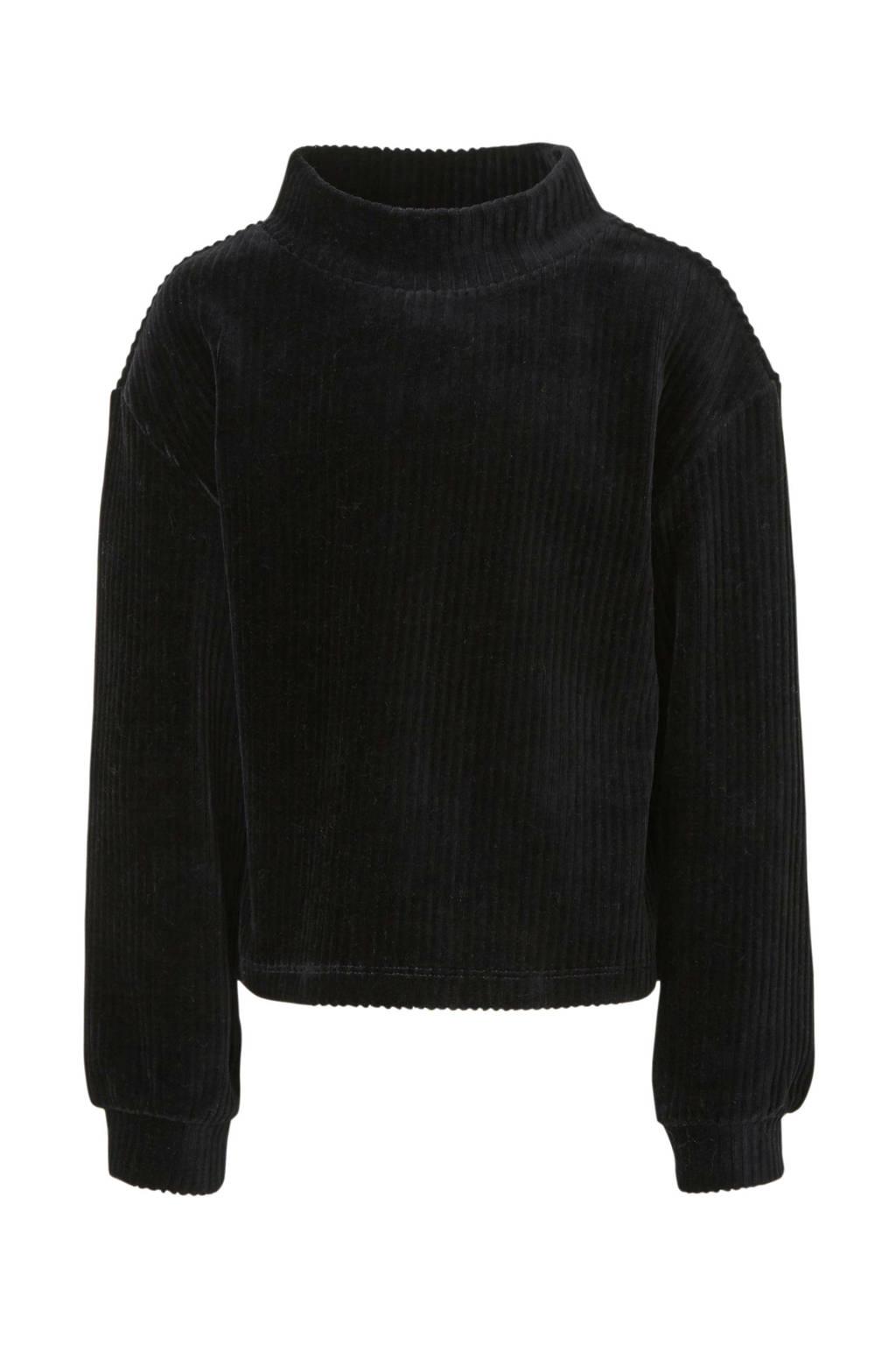 C&A Here & There ribgebreide fluwelen top zwart, Zwart