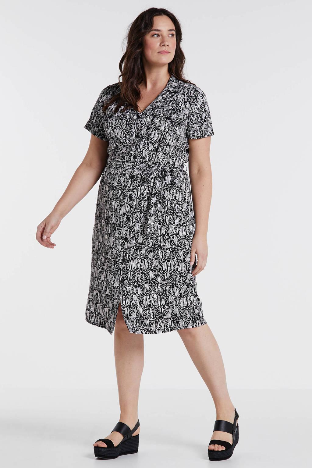 anytime blousejurk Plus size met bladprint zwart/ecru, Zwart/ecru