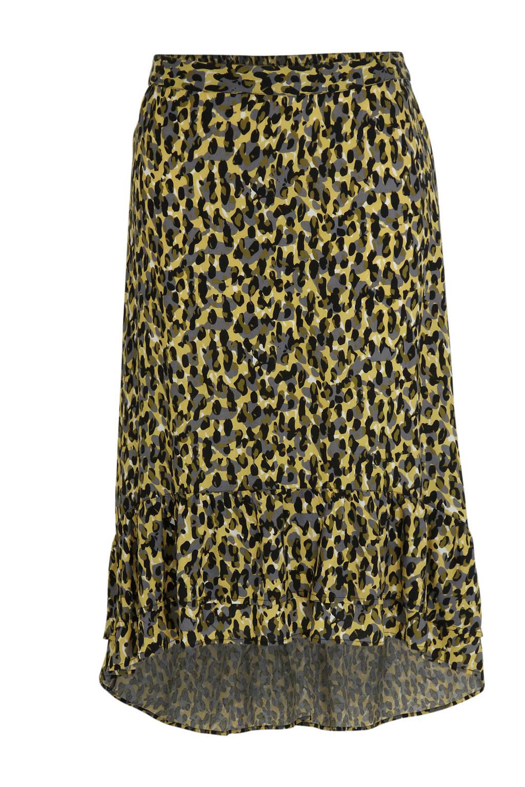 anytime rok Plus size met dubbele ruche en camouflage print geel, Geel/zwart/grijs
