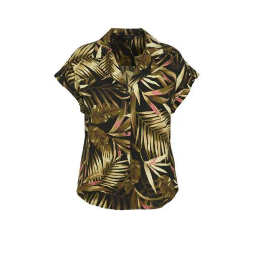 anytime blouse Plus size met bladprint zwart/groen