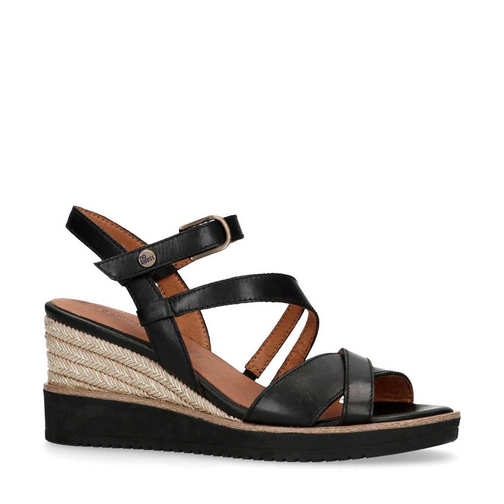No Stress   leren sandalettes zwart, Zwart/Zwart