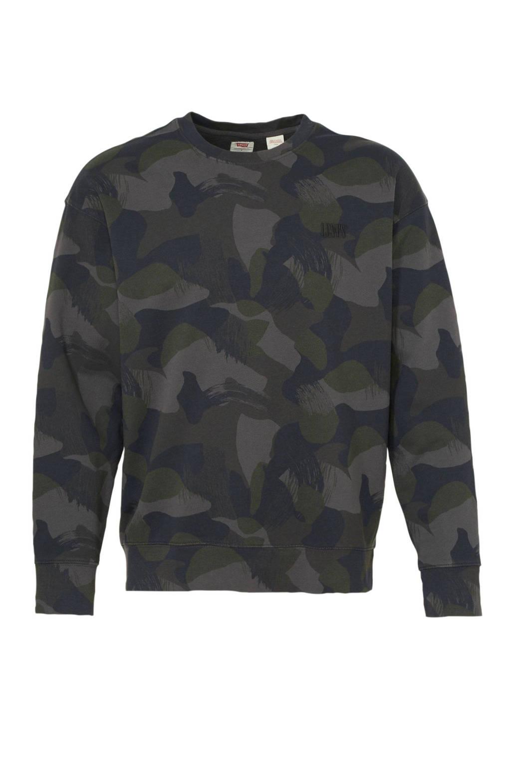 Levi's sweater met camouflageprint zwart/groen, Zwart/groen