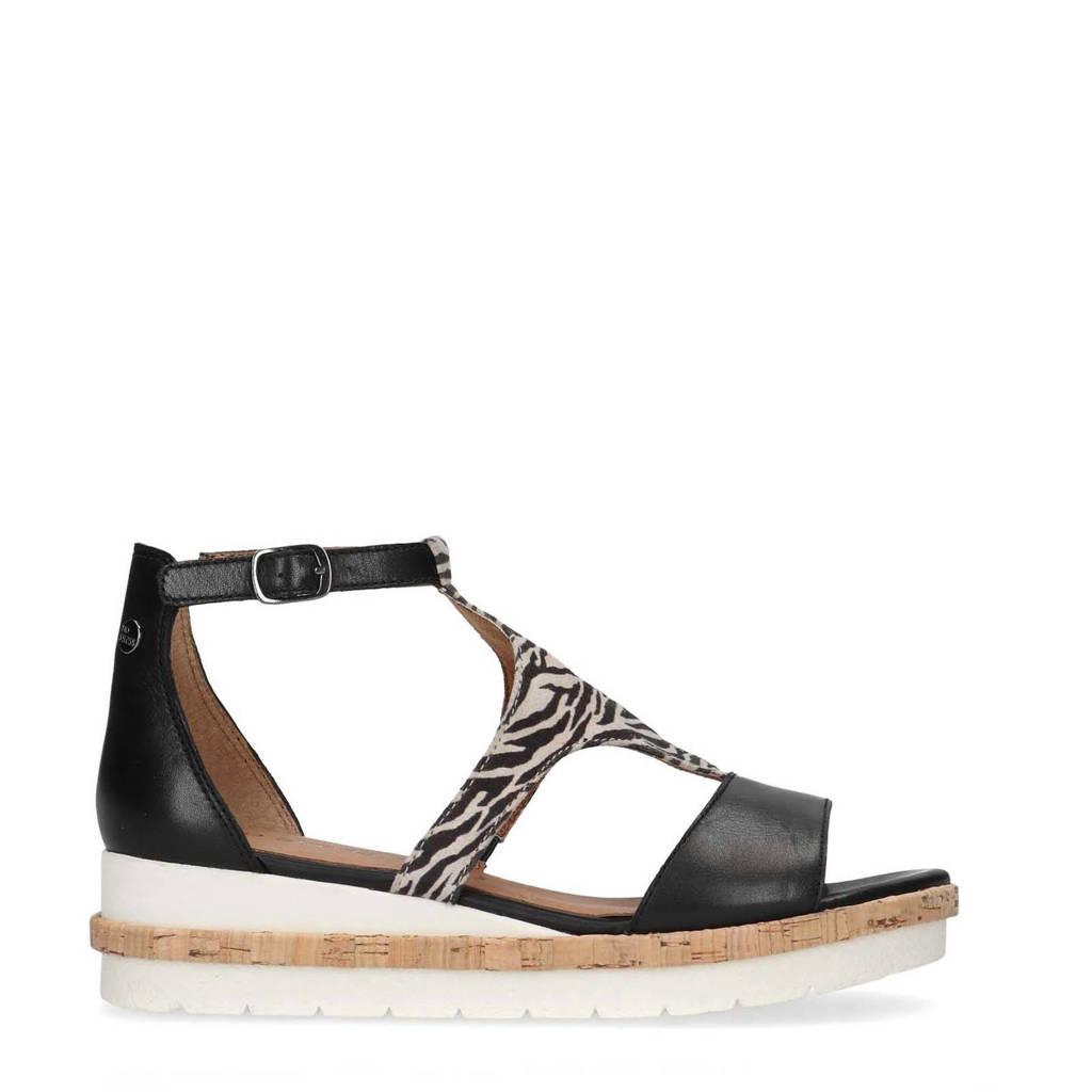 No Stress   leren sandalettes zwart, Zwart/wit