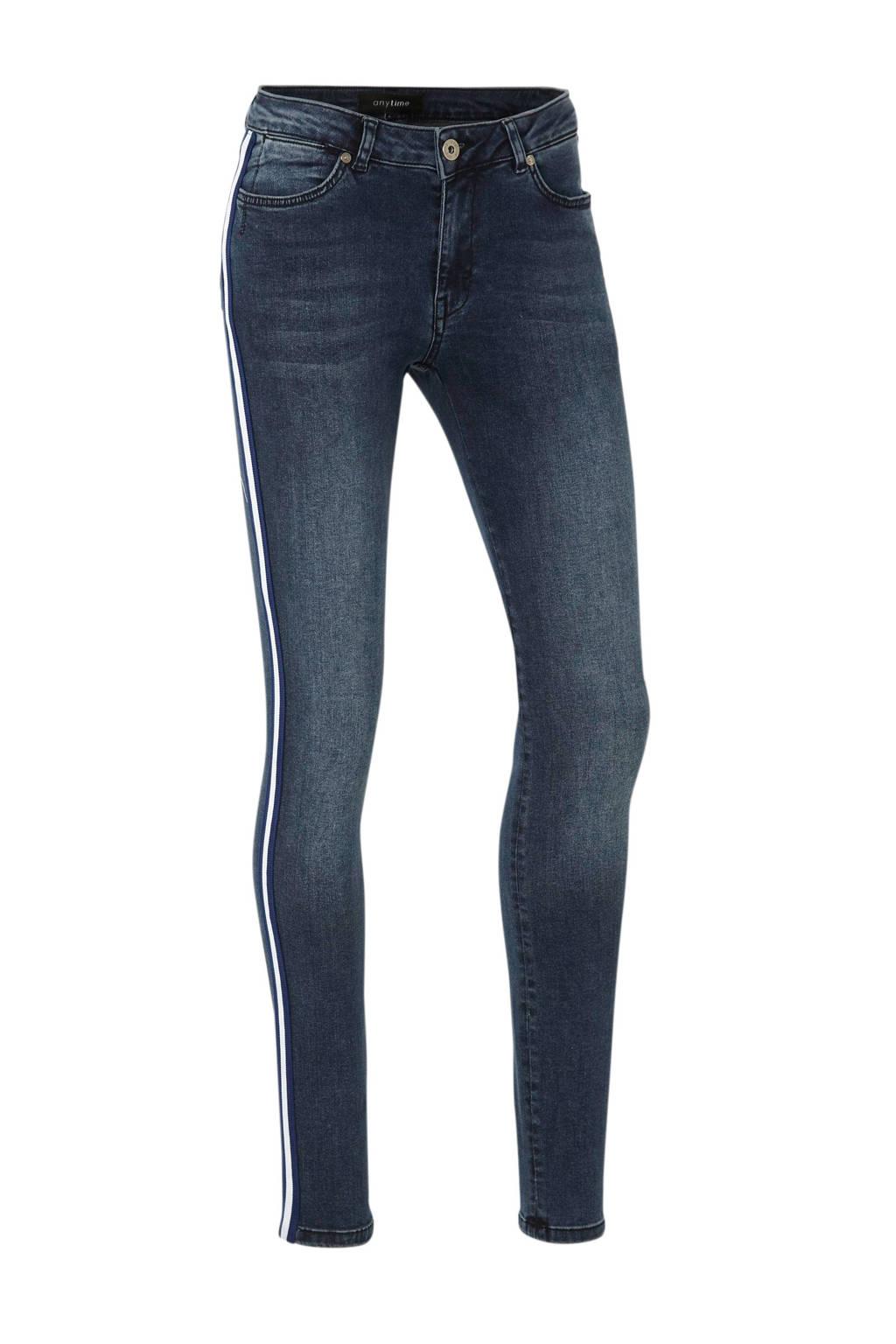 anytime super comfort basic skinny jeans met zijnaadbies, Dark blue stonewashed