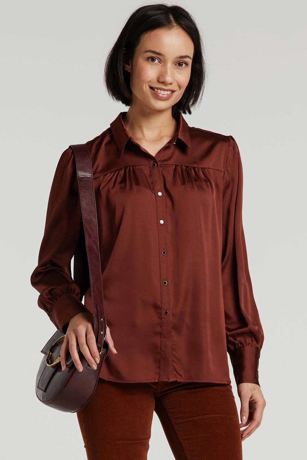 HARPER & YVE blouse Harlee met plooien oranje, Oranje