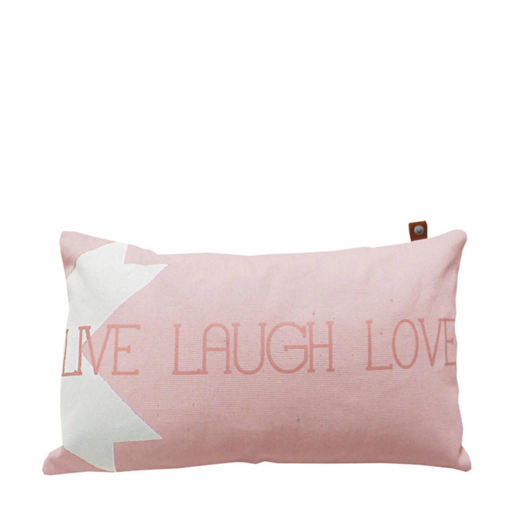 OVERSEAS sierkussenhoes Live Laugh Love  (30x50 cm), Blush