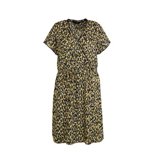 anytime wikkel look jurk Plus size met camouflage print geel
