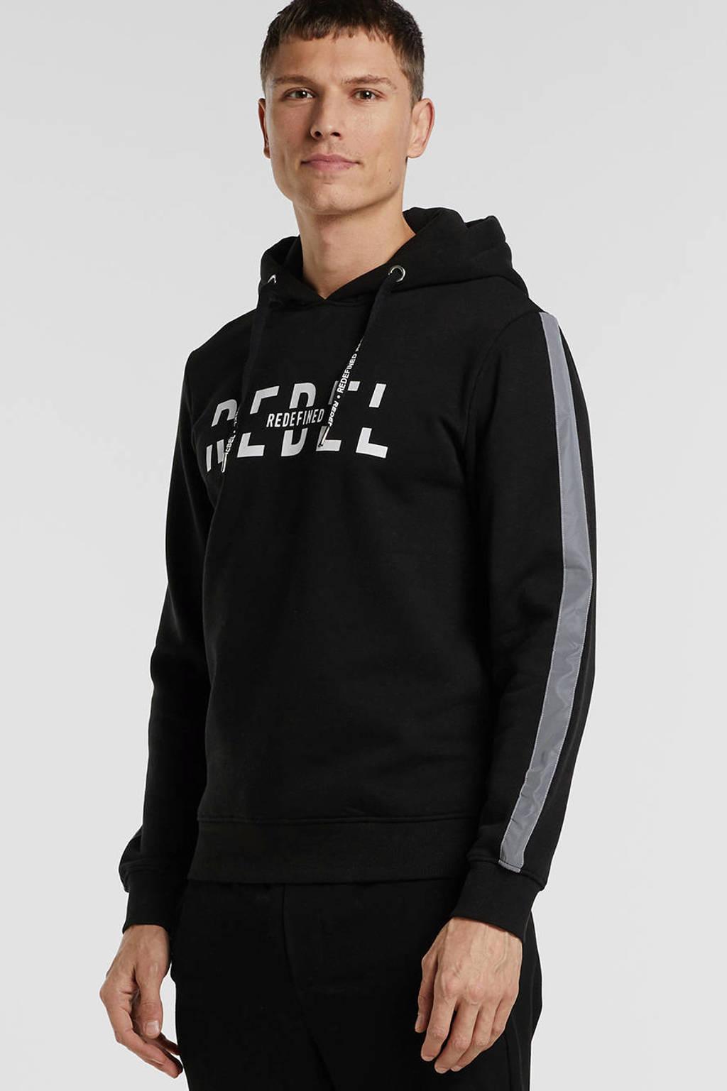 Redefined Rebel hoodie met printopdruk zwart, Zwart
