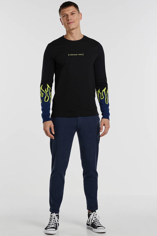 Redefined Rebel sweater met logo zwart, Zwart