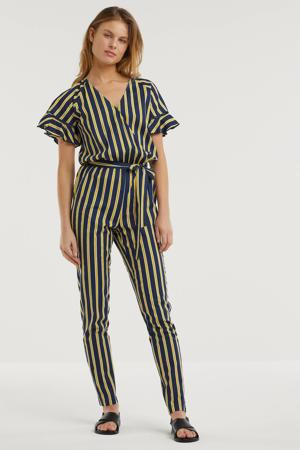 jumpsuit met streepprint donkerblauw/geel