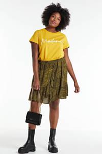 anytime crinkle viscose wikkel-look rok Plus sizes, Zwart/geel