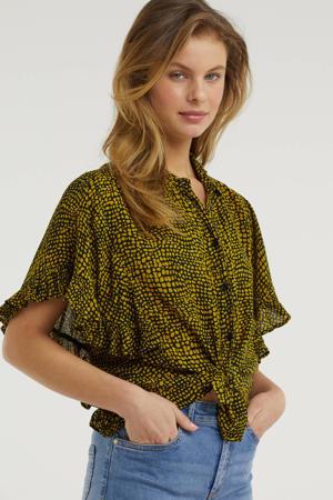 crinkle blouse met ruche en all-over print zwart/oker