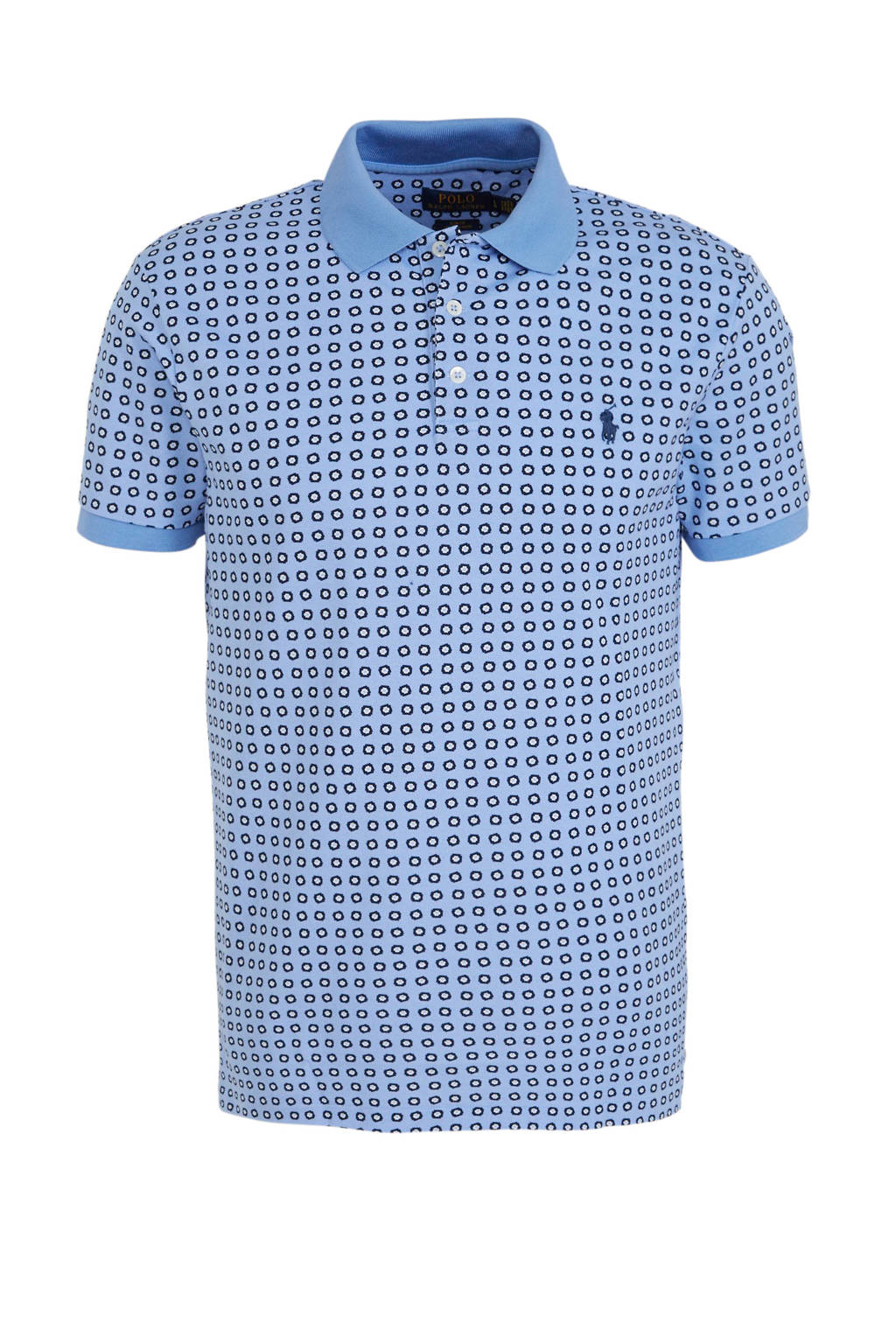POLO Ralph Lauren slim fit polo met all over print blauw/donkerblauw, Blauw/donkerblauw
