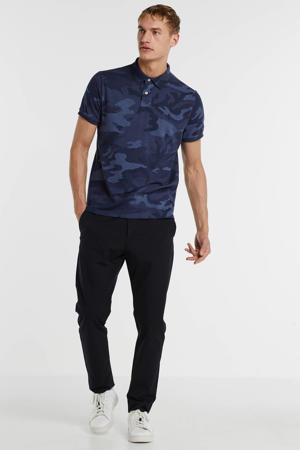 slim fit polo met camouflageprint donkerblauw
