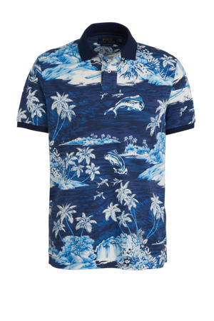 slim fit polo met all over print lichtblauw/blauw