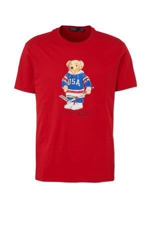 T-shirt met printopdruk rood/blauw/wit