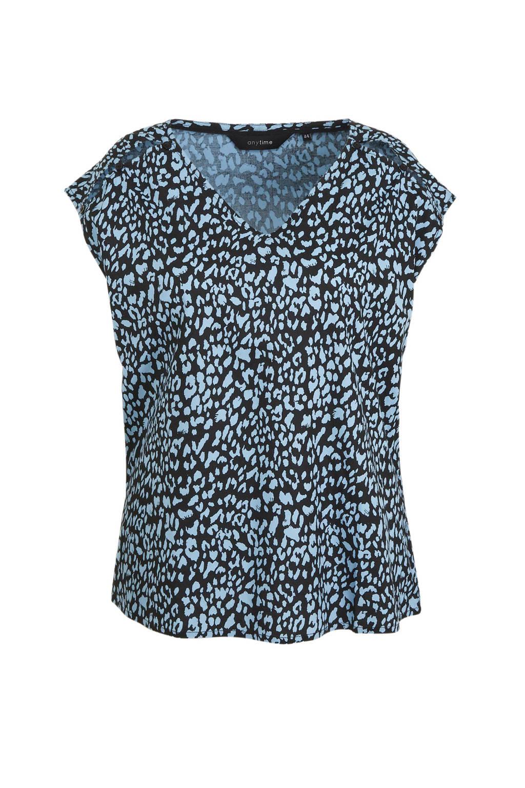 anytime geweven top Plus size met panterprint zwart, Zwart/blauw
