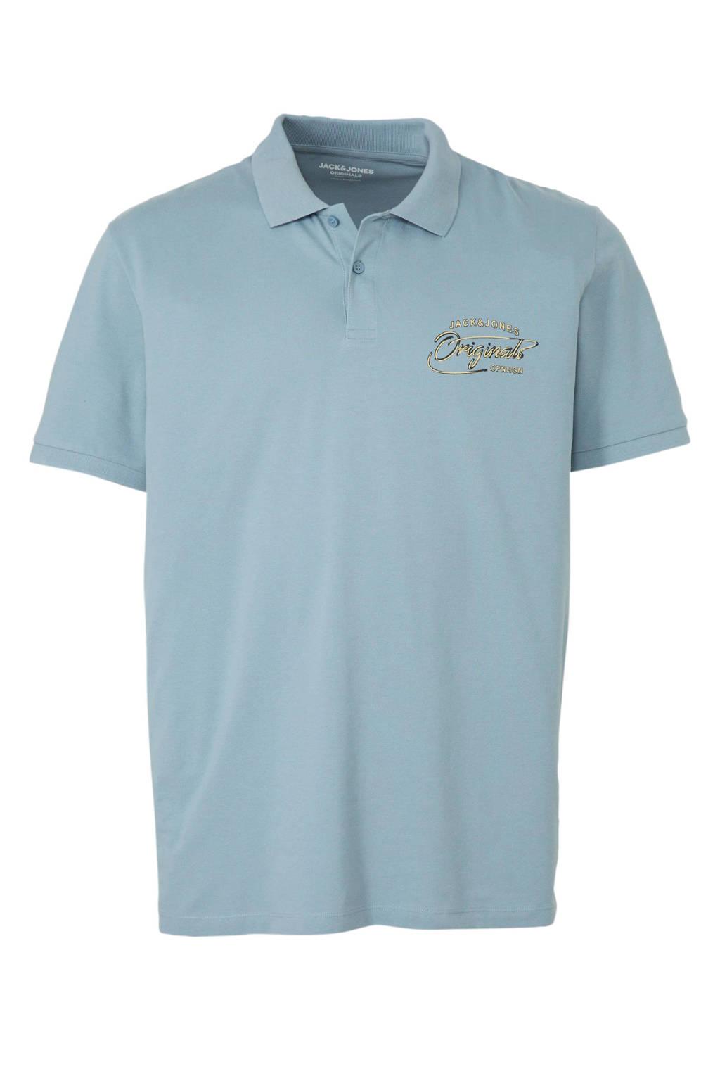 JACK & JONES PLUS SIZE regular fit polo met logo lichtblauw, Lichtblauw