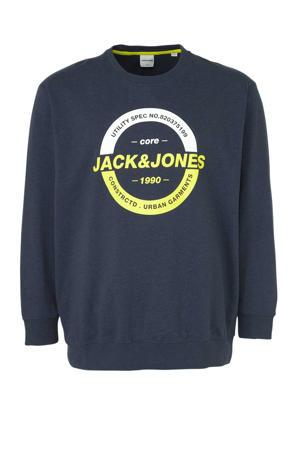 sweater met printopdruk donkerblauw