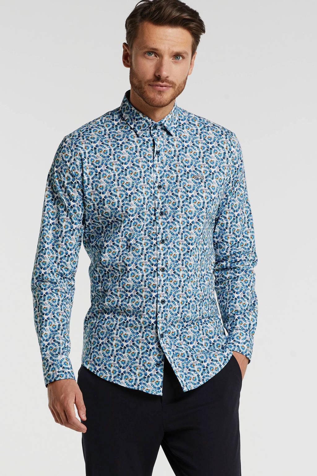 GABBIANO gebloemd slim fit overhemd wit, Wit