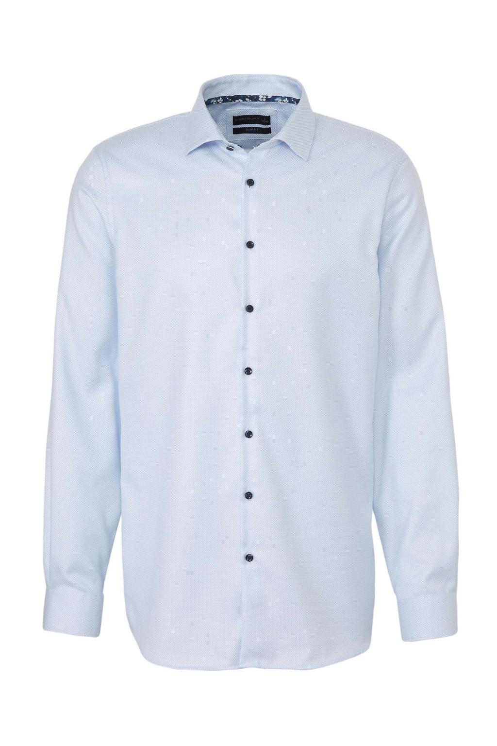 C&A Westbury slim fit overhemd met all over print lichtblauw, Lichtblauw
