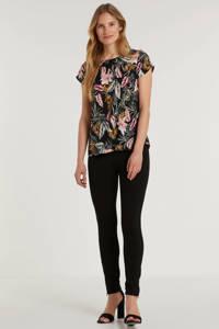 anytime top met bloemenprint, Zwart/groen/roze