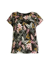 anytime top Plus size met bloemenprint, Zwart/groen