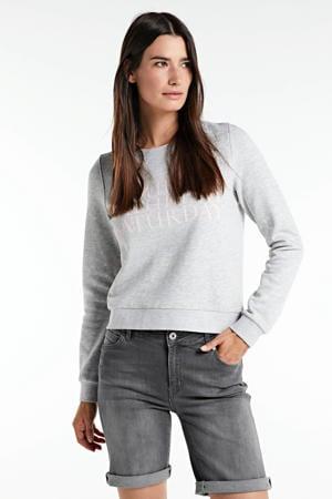 jeans-bermuda stonewashed grijs