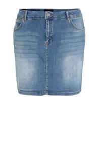 anytime spijkerrok Plus size met zijnaadbies blauw, Blauw