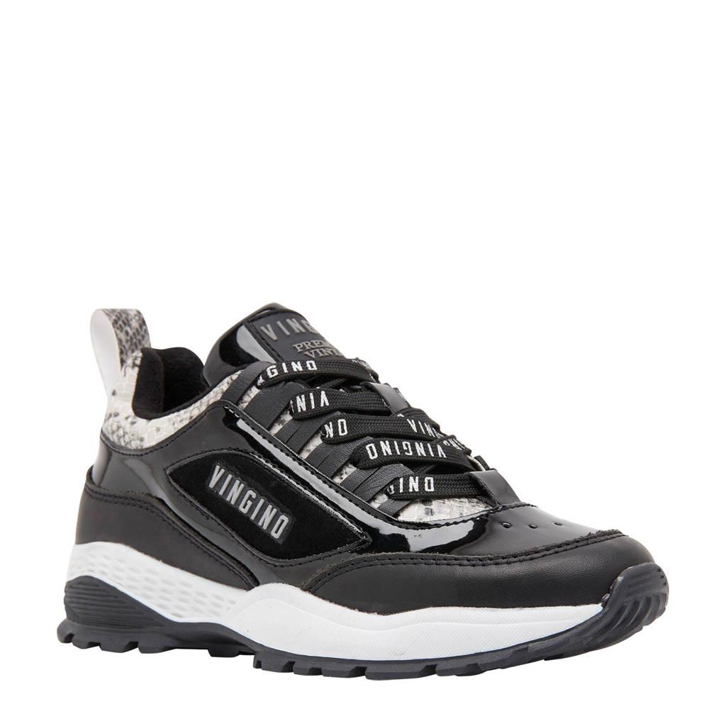Vingino Fenna  Fenna leren sneakers grijs/slangenprint, Grijs/zwart