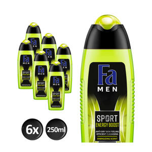Men Sport Energy Boost  douchegel - 6x 250ml multiverpakking