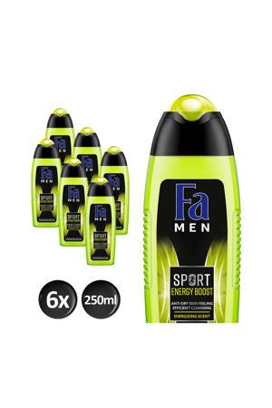 Men Sport Energy Boost  douchegel - 6x 250ml multiverpakking