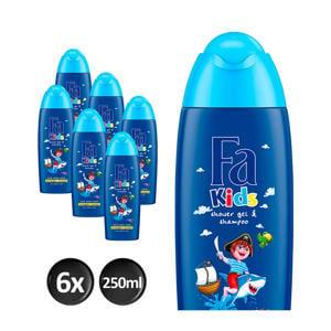 Kids Douche & Shampoo Pirate - 6x 250ml multiverpakking