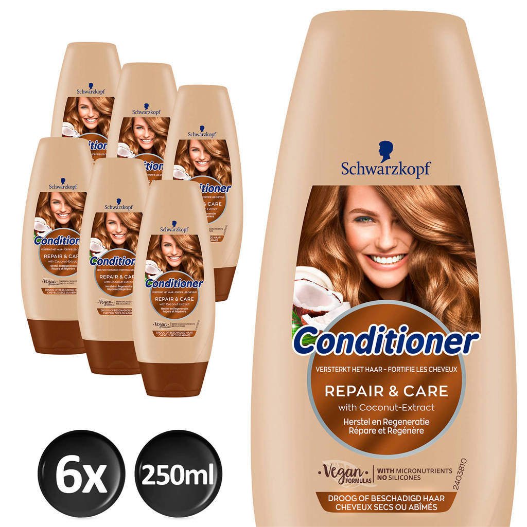 Schwarzkopf Repair & Care cremespoeling - 6x 250 ml multiverpakking
