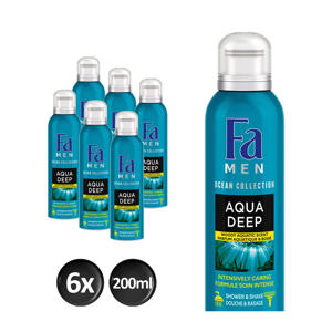 Men Foam Aqua Deep douchegel - 6x 200ml multiverpakking