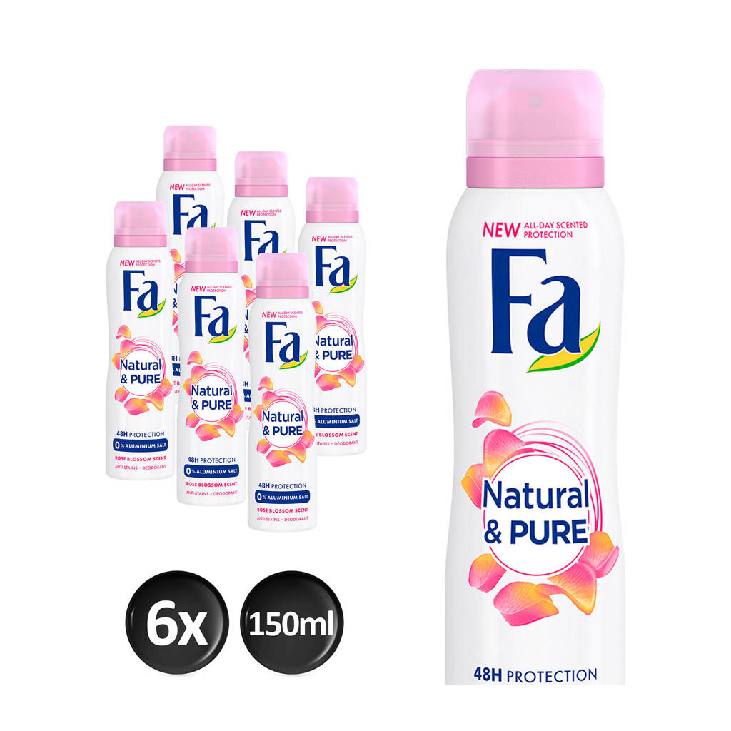 FA Deospray Natural & Pure Rose - 6x 150ml multiverpakking