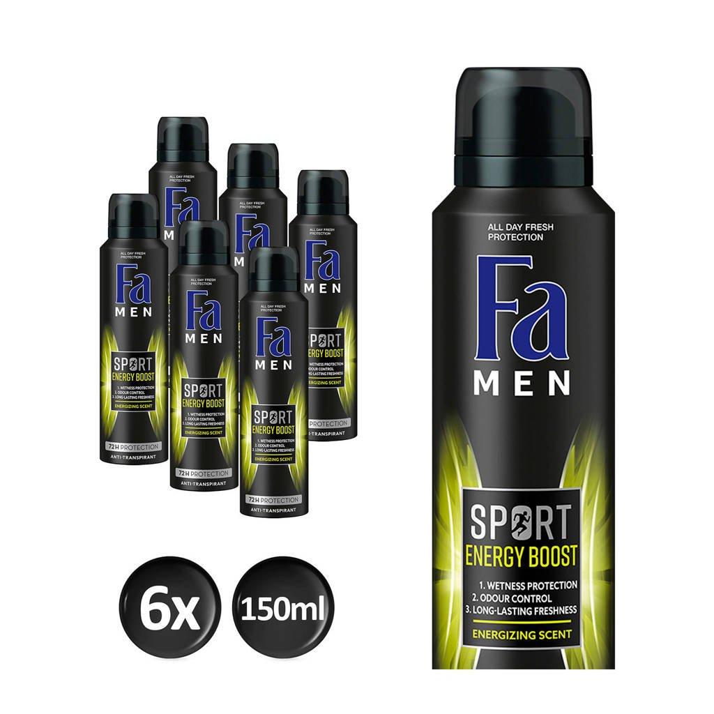 FA Men Deospray Sport Energy Boost  - 6x 150ml multiverpakking