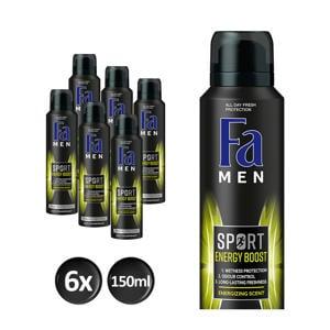 Men Deospray Sport Energy Boost  - 6x 150ml multiverpakking