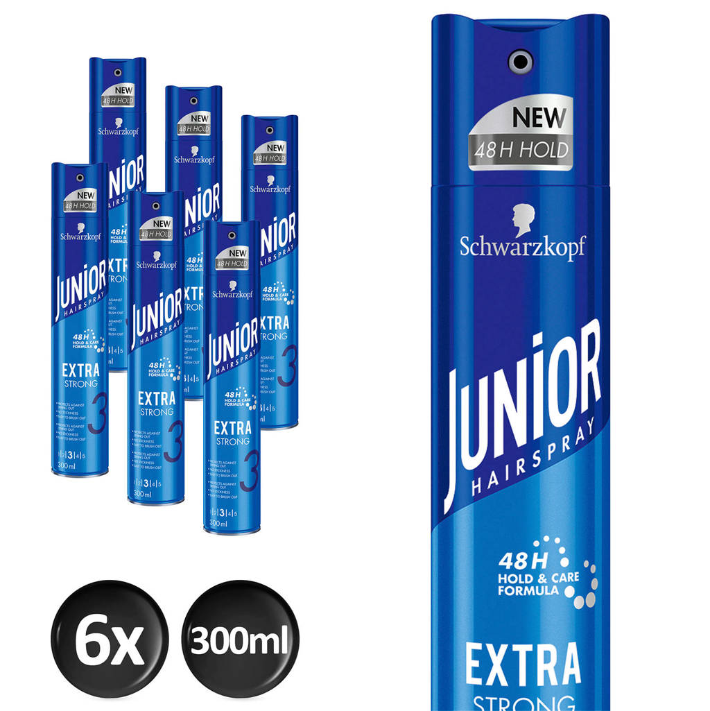 Schwarzkopf Junior Hairspray Extra Strong - 6x 300 ml multiverpakking