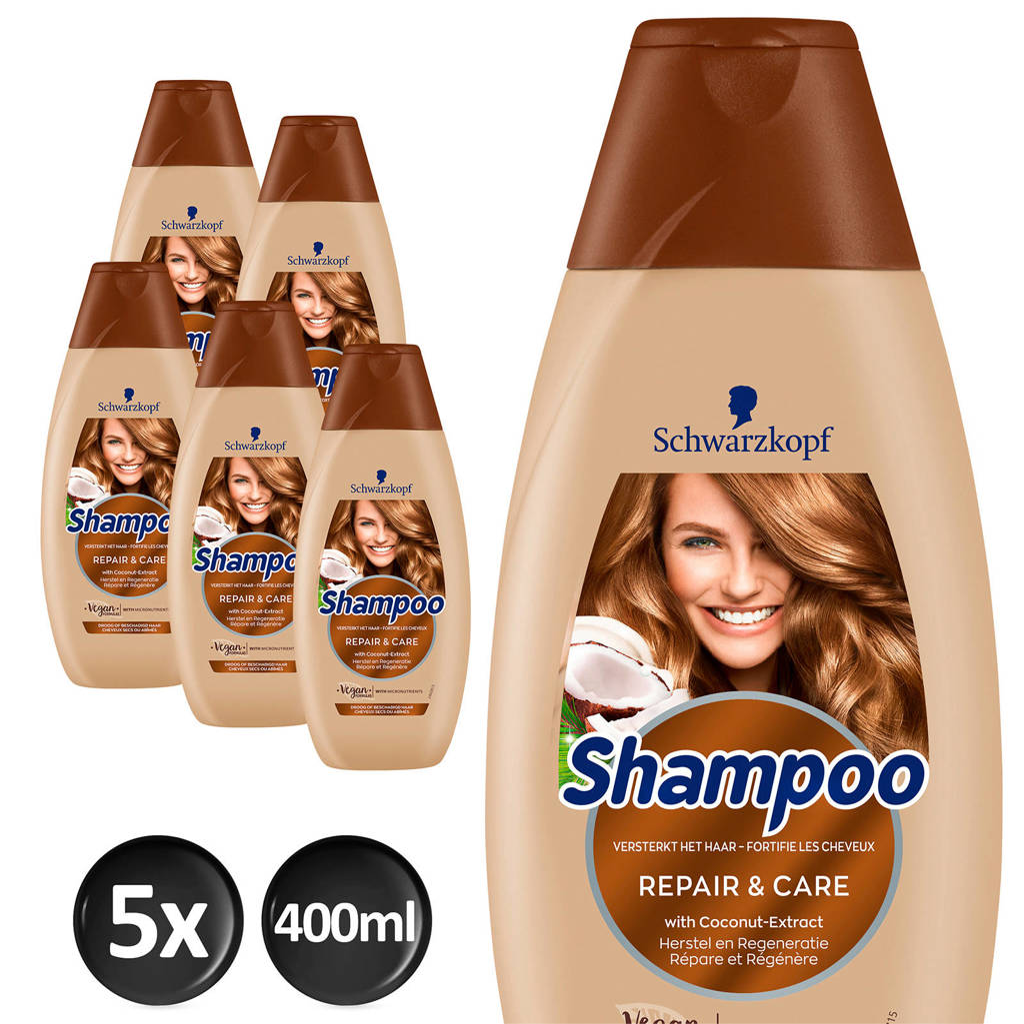 Schwarzkopf Repair & Care shampoo - 5x 400ml multiverpakking